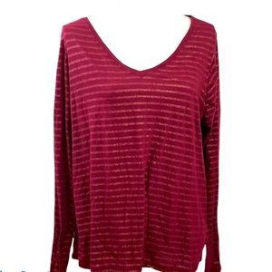 Lane Bryant Burgundy & gold striped top size 22/24